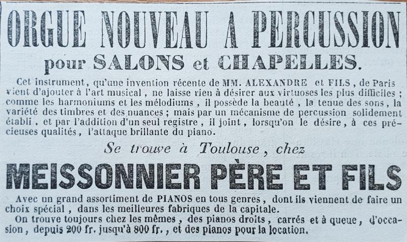 Publicité Meissonnier extraite du Journal de Toulouse du 6 décembre 1846